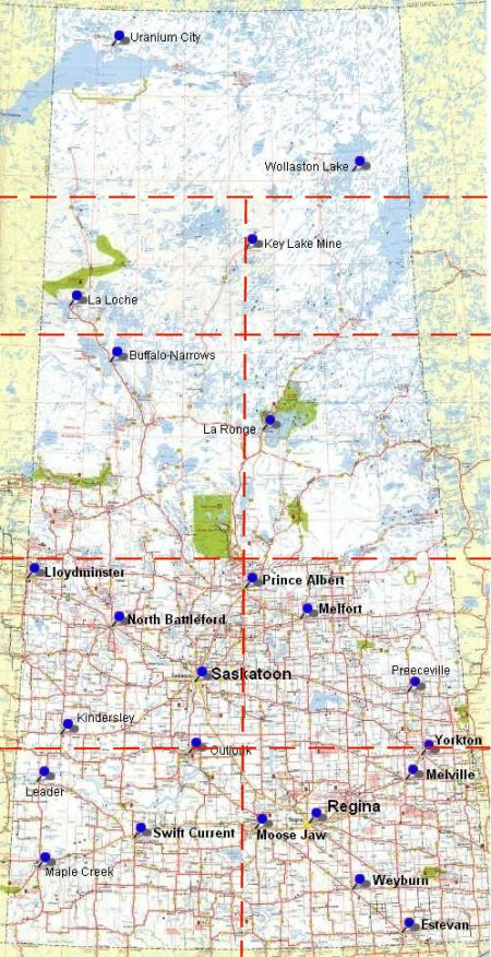SLED-SASK.com | Saskatchewan area map.